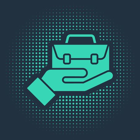 Green Hand holding briefcase icon isolated on blue background. Insurance concept. Security, safety, protection, protect concept. Abstract circle random dots. Vector. Illustration