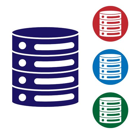 Blue Server, Data, Web Hosting icon isolated on white background. Set icons in color square buttons. Vector