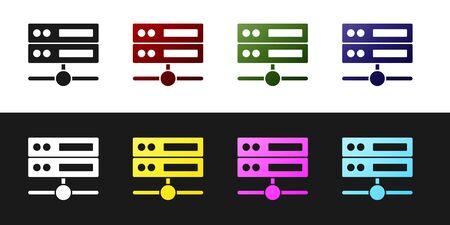 Set Server, Data, Web Hosting icon isolated on black and white background. Vector
