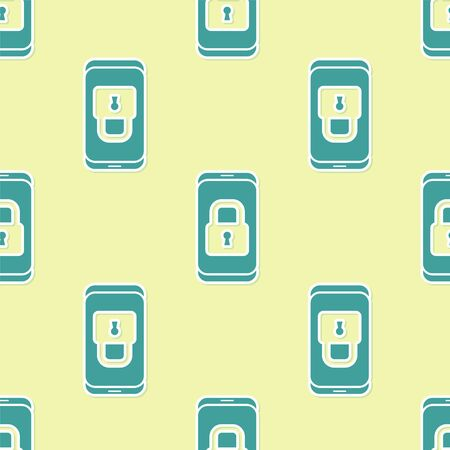 Green Smartphone with closed padlock icon isolated seamless pattern on yellow background. Phone with lock. Mobile security, safety, protection concept. Vector