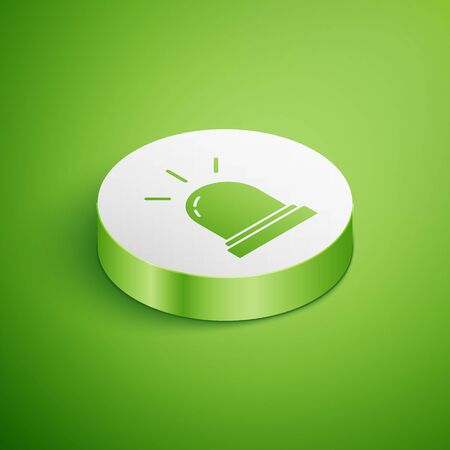 Isometric Motion sensor icon isolated on green background. White circle button. Vector