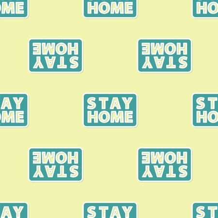 Green Stay home icon isolated seamless pattern on yellow background. Corona virus 2019-nCoV. Vector. Ilustracja