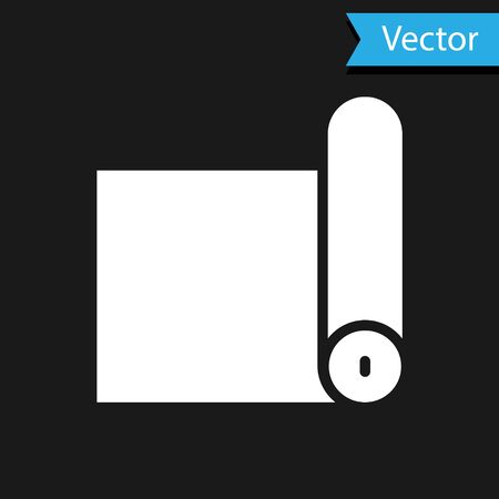White Fitness mat roll icon isolated on black background. Yoga mat rolled. Sport equipment. Vector Illustration