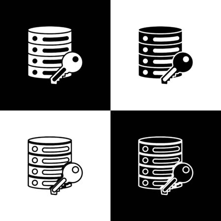 Set Server security with key icon isolated on black and white background. Security, safety, protection concept. Vector
