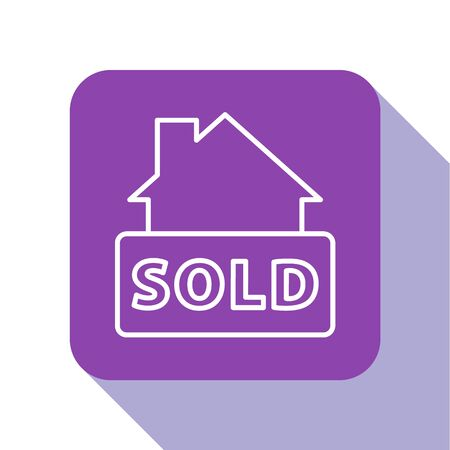 White line Hanging sign with text Sold icon isolated on white background. Sold sticker. Sold signboard. Purple square button. Vector