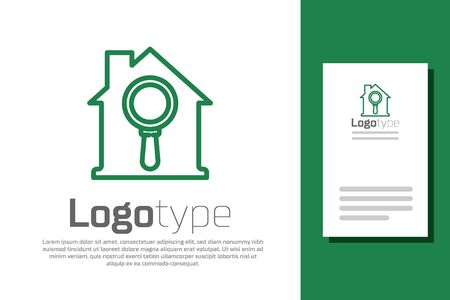 Green line Search house icon isolated on white background. Real estate symbol of a house under magnifying glass. Logo design template element. Vector