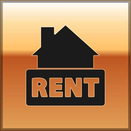 Black Hanging sign with text Rent icon isolated on gold background. Signboard with text For Rent. Vector. Ilustrace