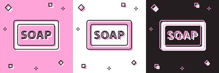 Set Bar of soap icon isolated on pink and white, black background. Soap bar with bubbles. Vector. 向量圖像