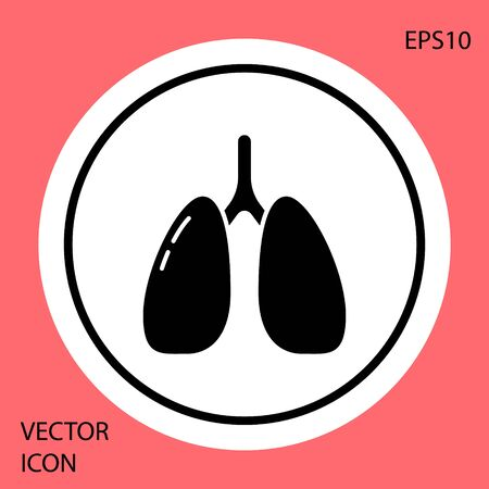 Black Lungs icon isolated on red background. White circle button. Vector.