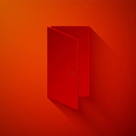 Paper cut Closed door icon isolated on red background. Paper art style. Vector
