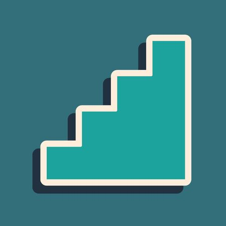 Green Staircase icon isolated on green background. Long shadow style. Vector.
