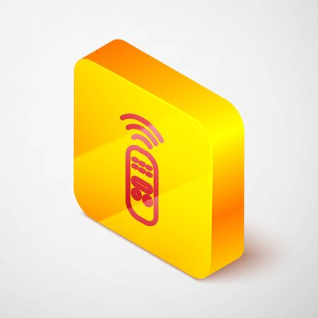 Isometric line Smart remote control system icon isolated on grey background. Internet of things concept with wireless connection. Yellow square button. Vector. Иллюстрация