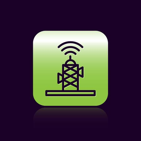 Black line Wireless antenna icon isolated on black background. Technology and network signal radio antenna. Green square button. Vector.