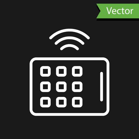 White line Wireless tablet icon isolated on black background. Internet of things concept with wireless connection. Vector.