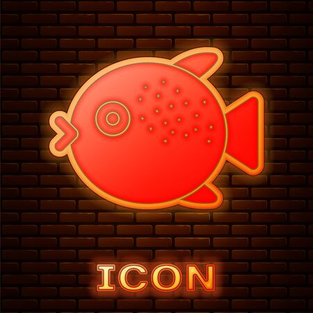 Glowing neon Puffer fish icon isolated on brick wall background. Fugu fish japanese puffer fish. Vector..