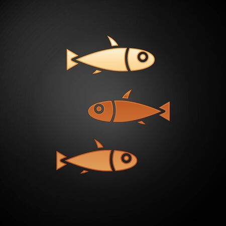 Gold Fishes icon isolated on black background. Vector.