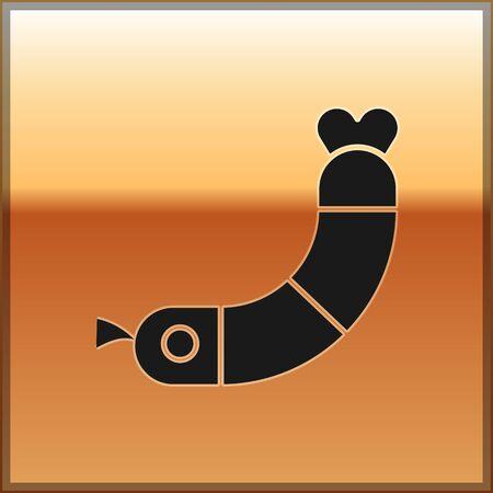 Black Shrimp icon isolated on gold background. Vector. Çizim