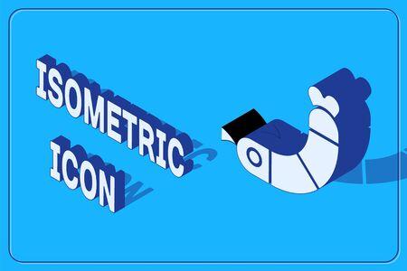 Isometric Shrimp icon isolated on blue background. Vector. Çizim