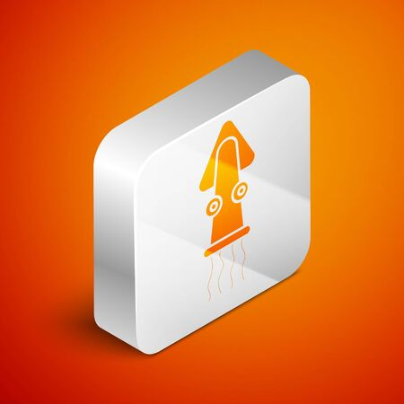 Isometric Octopus icon isolated on orange background. Silver square button. Vector.