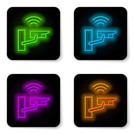Glowing neon line Smart security camera icon isolated on white background. Internet of things concept with wireless connection. Black square button. Vector