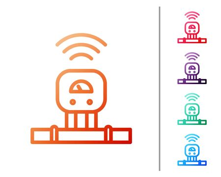 Red line Smart sensor system icon isolated on white background. Internet of things concept with wireless connection. Set color icons. Vector. Illustration