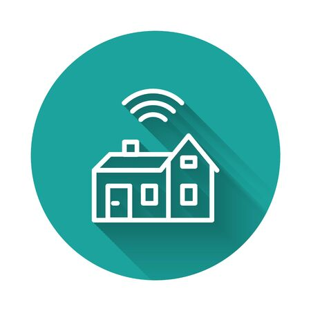 White line Smart home with wireless icon isolated with long shadow. Remote control. Internet of things concept with wireless connection. Green circle button. Vector.