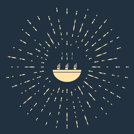 Beige Soup with shrimps icon isolated on blue background. Tom yum kung soup. Abstract circle random dots. Vector.