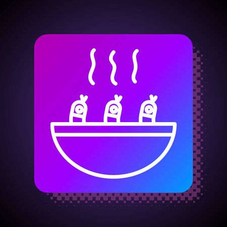 White line Soup with shrimps icon isolated on black background. Tom yum kung soup. Square color button. Vector..