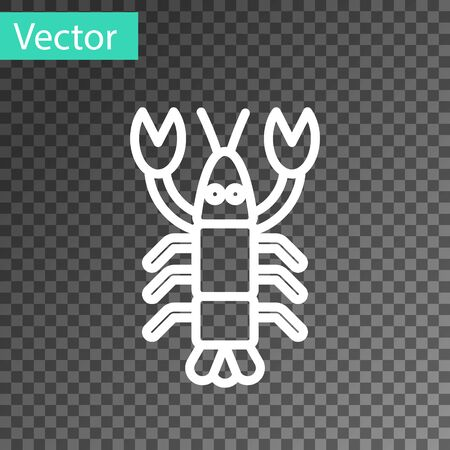 White line Lobster icon isolated on transparent background. Vector..