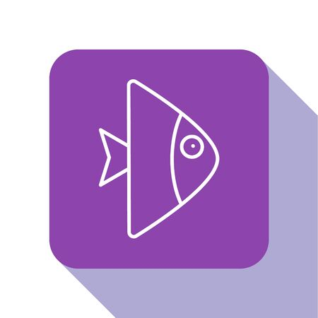 White line Fish icon isolated on white background. Purple square button. Vector..