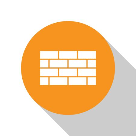 White Firewall, security wall icon isolated on white background. Orange circle button. Vector.
