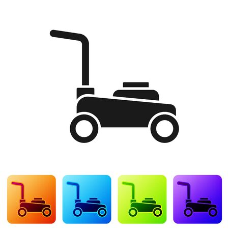Black Lawn mower icon isolated on white background. Lawn mower cutting grass. Set icons in color square buttons. Vector