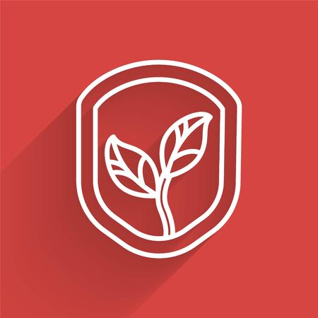 White line Shield with leaf icon isolated with long shadow. Eco-friendly security shield with leaf. Vector