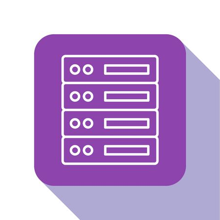White line Server, Data, Web Hosting icon isolated on white background. Purple square button. Vector