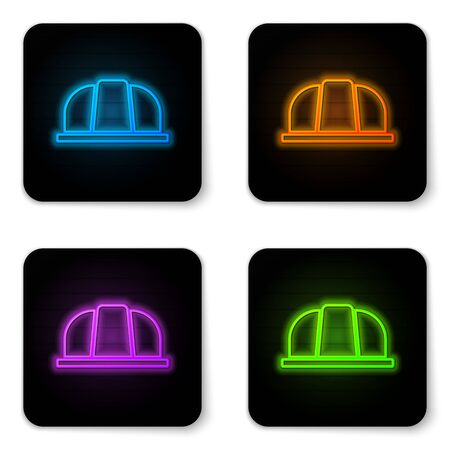Glowing neon Worker safety helmet icon isolated on white background. Insurance concept. Security, safety, protection, protect concept. Black square button. Vector.