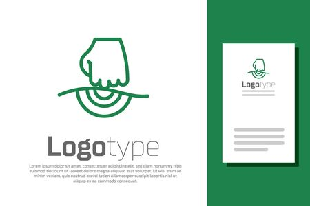 Green line Massage icon isolated on white background. Relaxing, leisure. Logo design template element. Vector