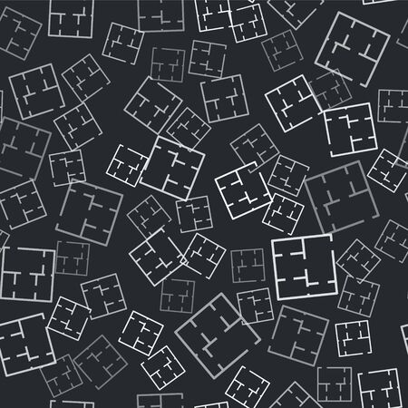 Grey House plan icon isolated seamless pattern on black background. Vector 일러스트