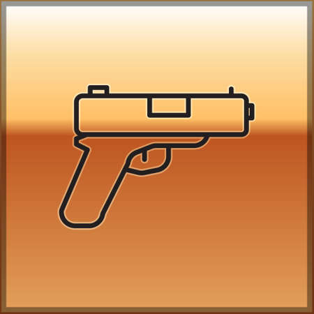 Black line Pistol or gun icon isolated on gold background. Police or military handgun. Small firearm. Vector