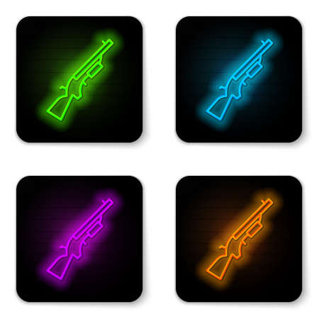 Glowing neon line Shotgun icon isolated on white background. Hunting gun. Black square button. Vector Ilustrace