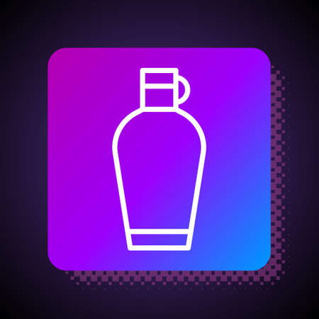 White line Canteen water bottle icon isolated on black background. Tourist flask icon. Jar of water use in the campaign. Square color button. Vector
