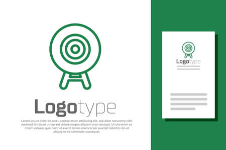 Green line Target sport icon isolated on white background. Clean target with numbers for shooting range or shooting. Logo design template element. Vector