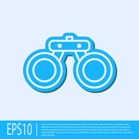 Blue line Binoculars icon isolated on grey background. Find software sign. Spy equipment symbol. Vector.