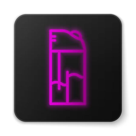 Glowing neon line Lighter icon isolated on white background. Black square button. Vector.