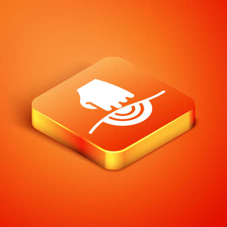 Isometric Massage icon isolated on orange background. Relaxing, leisure. Vector Vettoriali