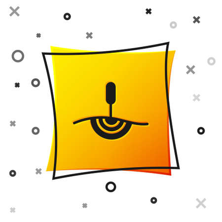 Black Acupuncture therapy icon isolated on white background. Chinese medicine. Holistic pain management treatments. Yellow square button. Vector Vettoriali