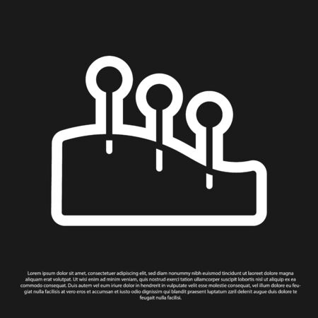 Black Acupuncture therapy icon isolated on black background. Chinese medicine. Holistic pain management treatments. Vector Ilustracja