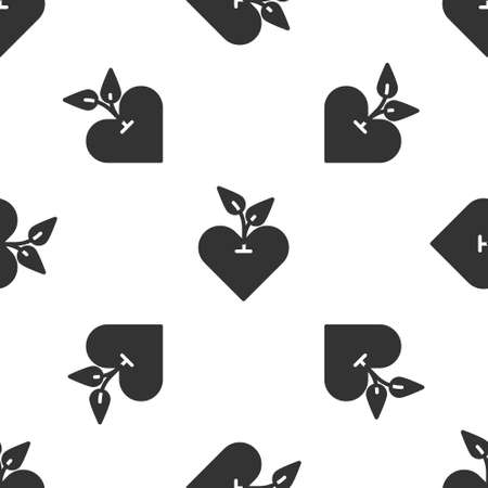 Grey Heart icon isolated seamless pattern on white background. First aid. Healthcare, medical and pharmacy sign. Vector 写真素材 - 150635288