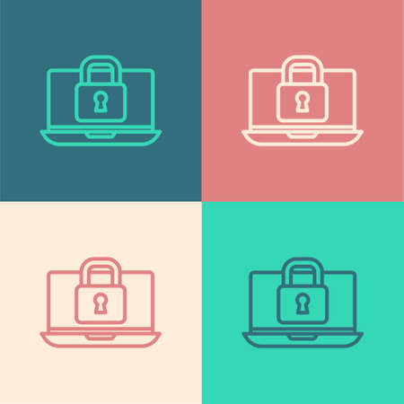 Pop art line Laptop and lock icon isolated on color background. Computer and padlock. Security, safety, protection concept. Safe internetwork. Vector
