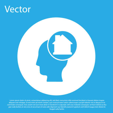 Blue Man dreaming about buying a new house icon isolated on blue background. White circle button. Vector
