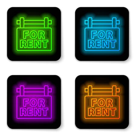 Glowing neon line Hanging sign with text For Rent icon isolated on white background. Signboard with text For Rent. Black square button. Vector